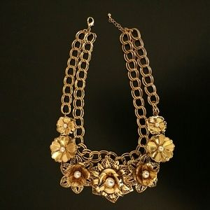 Gold & Pearl Floral Statement Necklace